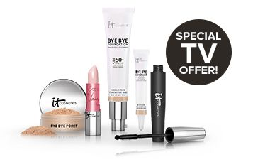 IT Cosmetics Bye Bye Foundation special TV offer: IT makeup kit includes Bye Bye Foundation, Hello Lashes, Bye Bye Pores, Bye Bye Concealer and Vitality Lip Flush.